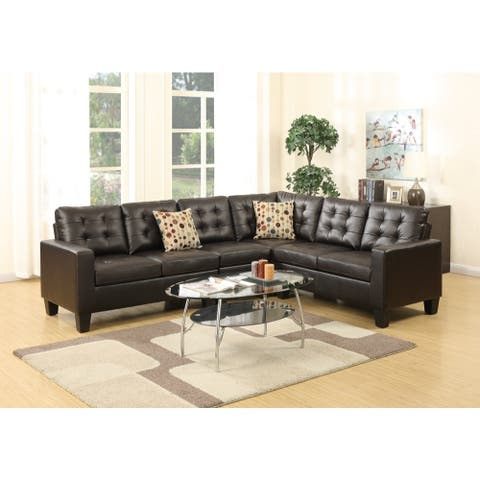 Bonded Leather 4 Pieces Sectional With Pillows In Espresso Brown