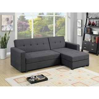 Polyfiber Fabric 2 Piece Adjustable Storage Sofa Set, Gray