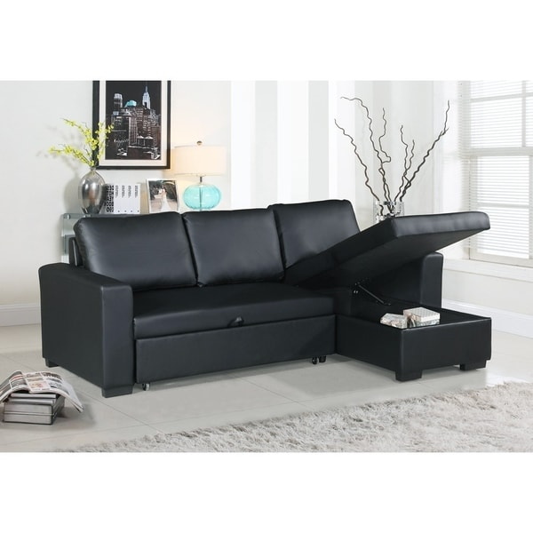 Shop Faux Leather Convertible Sectional With Storage Black