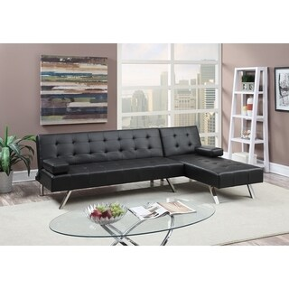 Faux Leather 2 Piece Adjustable Sofa Set In Black