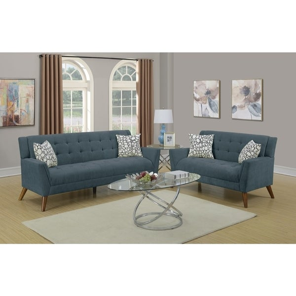 Bon Velvet Cloth 2 Piece Sofa Set With Tufted Seats And Back In Blue