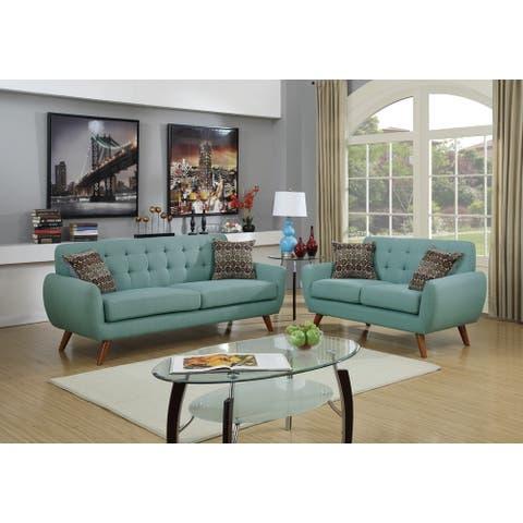 Polyfiber 2 Piece Sofa set with Cushion Seats in Blue