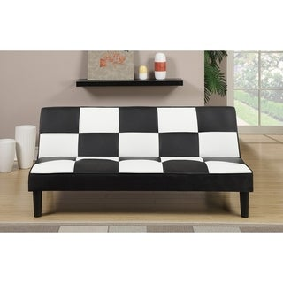 Faux Leather Adjustable Sofa In Black And White Checker