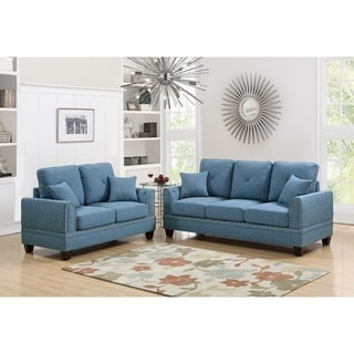 Polyfiber 2 Piece Sofa Set With Nail head Trims In Blue