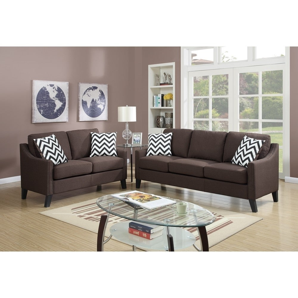 Linen Like Fabric 2 Pieces Sofa Set In Chocolate Brown