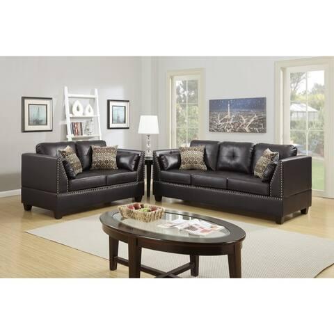 Bonded Leather 2 Piece Sofa Set In Espresso Brown
