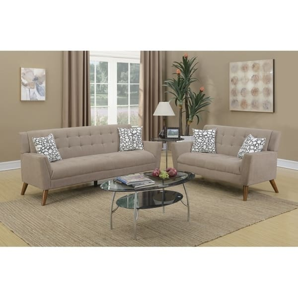 Super Velvet Cloth 2 Piece Sofa Set With Tufted Seats And Back In Light Brown Pabps2019 Chair Design Images Pabps2019Com