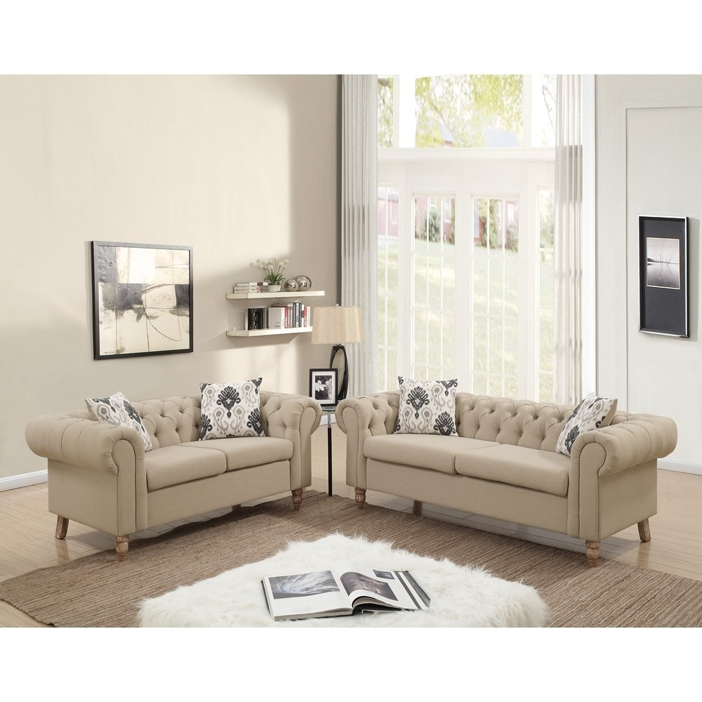 Plush Suede Rolled Arm 2 Pieces Sofa Set In Beige