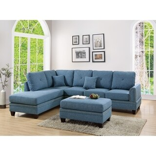 Polyfiber 2 Piece Sectional Set With Nail head Trims In Blue