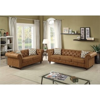 Leatherette Rolled Arm 2 Pieces Sofa Set In Camel Brown