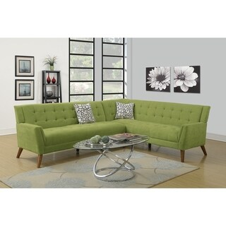 Polyfiber 2 Pieces Sectional Sofa In Green