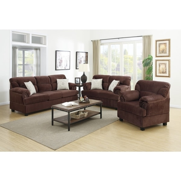 Shop Microfiber 3 Piece Sofa Set In Chocolate Brown Free Shipping