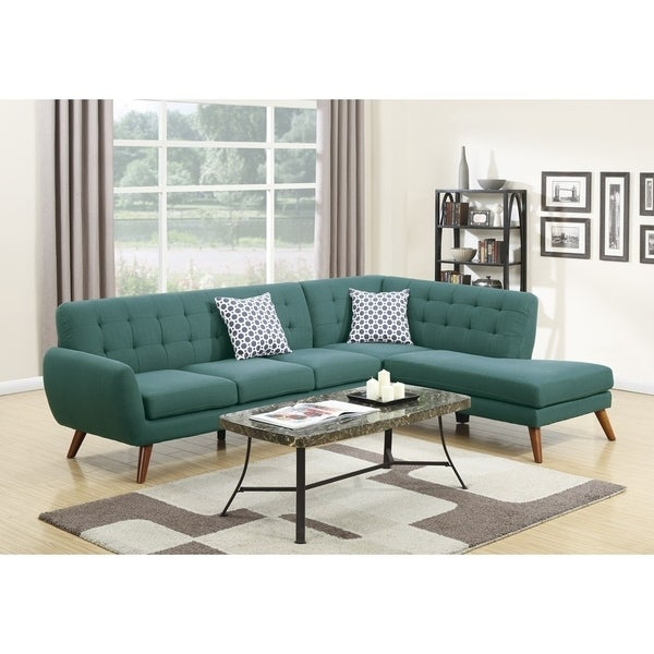 Polyfiber 2 Pieces Sectional With 2 Pillows In Blue