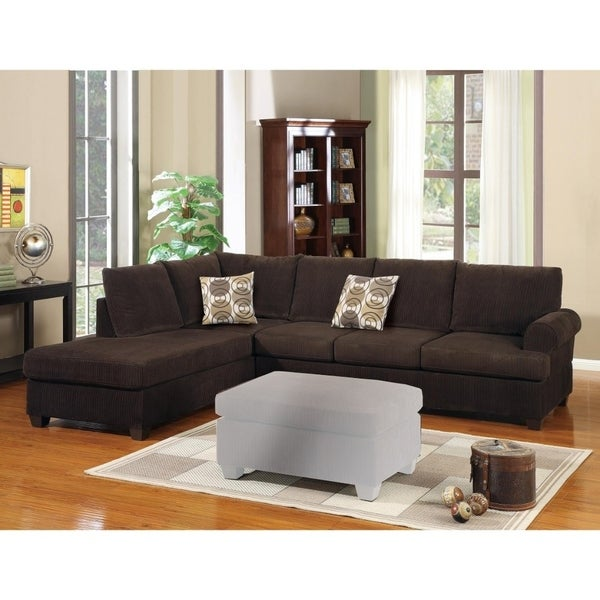 Luxurious And Plush 2 Piece Corduroy Sectional Sofa Chocolate