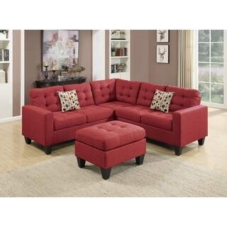 Linen Fabric 4 Pieces Sectional With Cocktail Ottoman and Pillows In Carmine Red