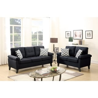 Link to Polyfiber 2 Pieces Sofa Set With Accent Pillows Black Similar Items in Sofas & Couches