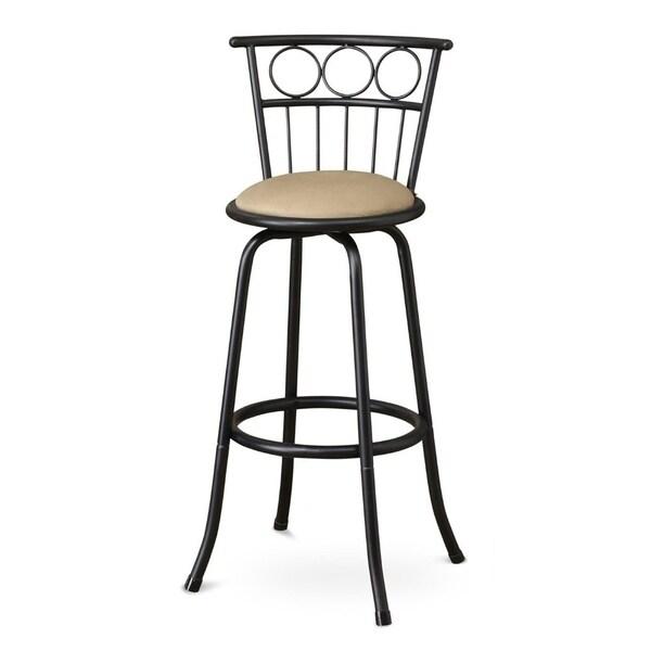 Fabulous Metal And Microfiber Swivel Barstool Black Set Of 2 Dailytribune Chair Design For Home Dailytribuneorg