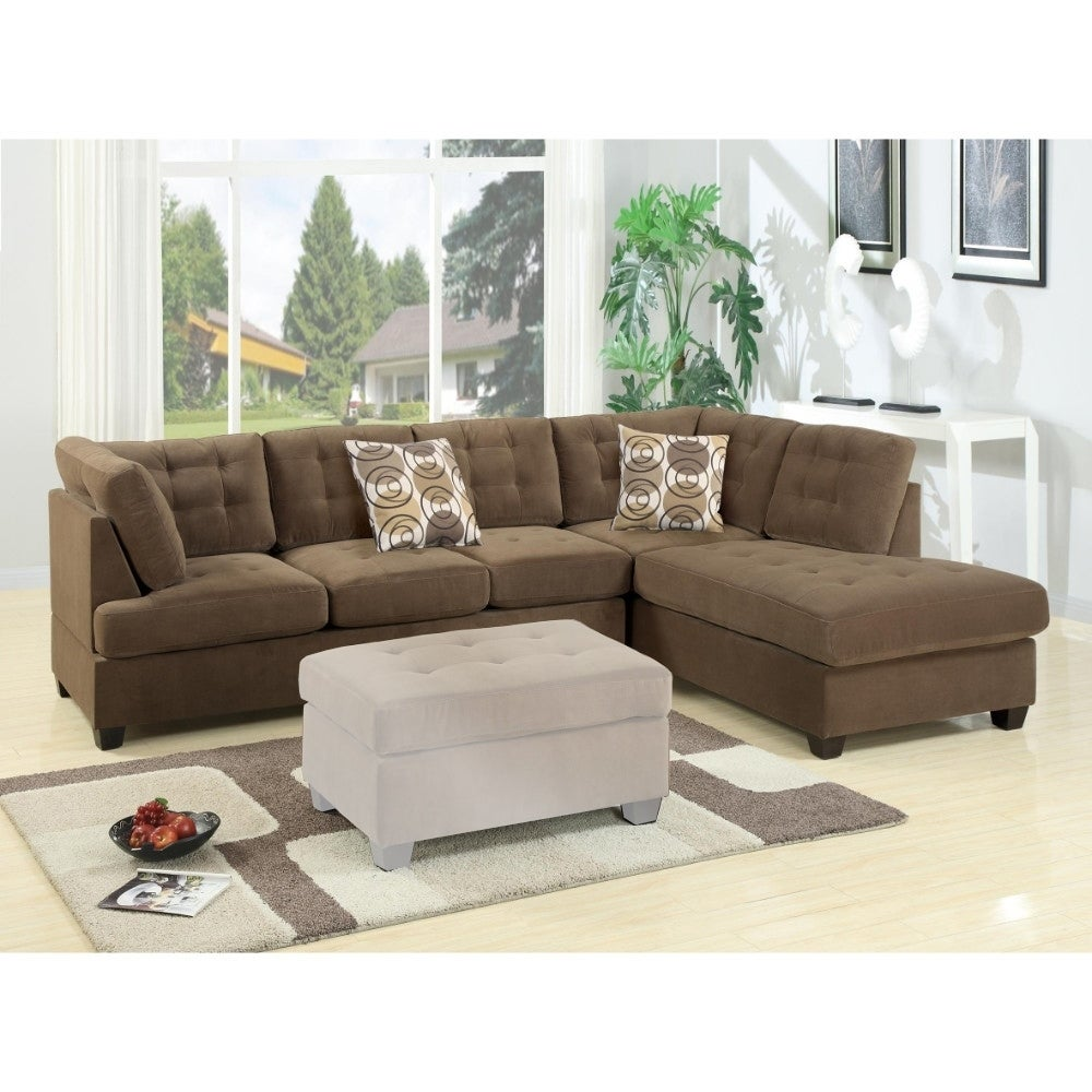 Luxurious And Plush 2-Piece Corduroy Sectional Sofa In waffle Suede Truffle