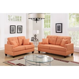 Polyfiber 2 Piece Sofa Set With Plush Cushion In Orange
