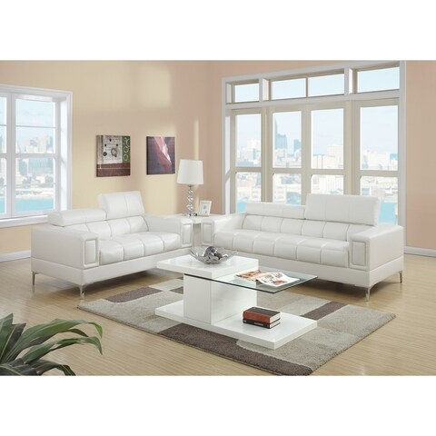 Bonded Leather 2 Piece Sofa Set With Foldable Headrests In White