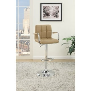 Arm Chair Style Bar Stool With Gas Lift Brown And Silver Set of 2