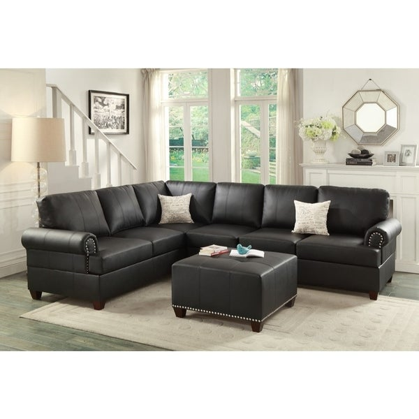 Bonded Leather 2 Pieces Reversible Sectional In Black. Opens flyout.