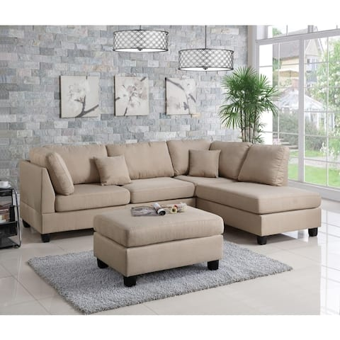 Linen Fabric 3 Pieces Sectional In Sand Beige