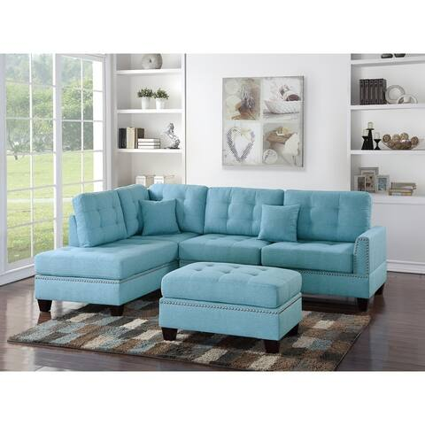 Polyfiber 3 Piece Sectional Set With Plush Cushion In Blue