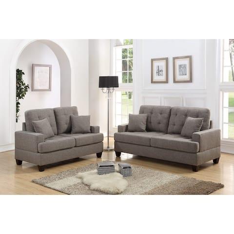 Polyfiber 2 Piece Sofa Set With Plush Cushion In Light Brown