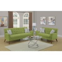 Velvet Cloth 2 Piece Sofa Set With Tufted Seats And Back In Green