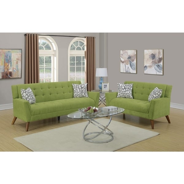 Beau Velvet Cloth 2 Piece Sofa Set With Tufted Seats And Back In Green
