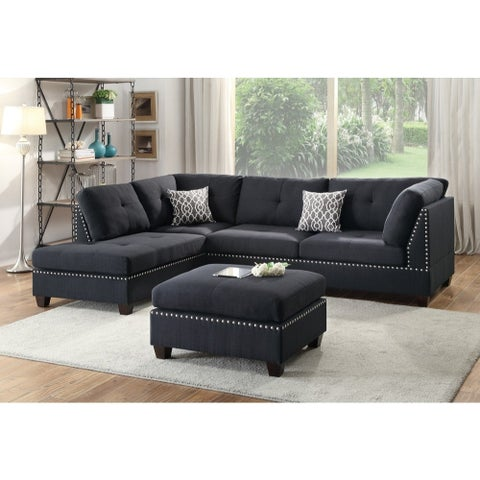Polyfiber 3 Pieces Sectional Set With Ottoman In Black