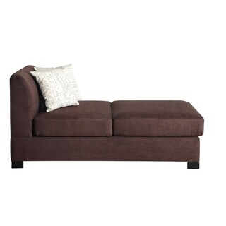 Microsuede Chaise With 2 Pillows In Choco Brown