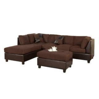Opulent 3 Piece Reversible Fabric And Faux Leather Sectional Sofa, Chocolate Finish