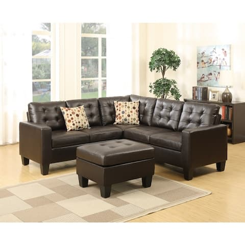 Bonded Leather 4 Pieces Sectional with Cocktail Ottoman and Pillows in Espresso Brown
