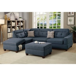 Dorris Fabric 3 Pieces Sectional Featuring Storage Chaise And Ottoman Light Brown