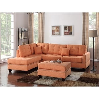 Polyfiber 3 Piece Sectional Set With Plush Cushion In Orange