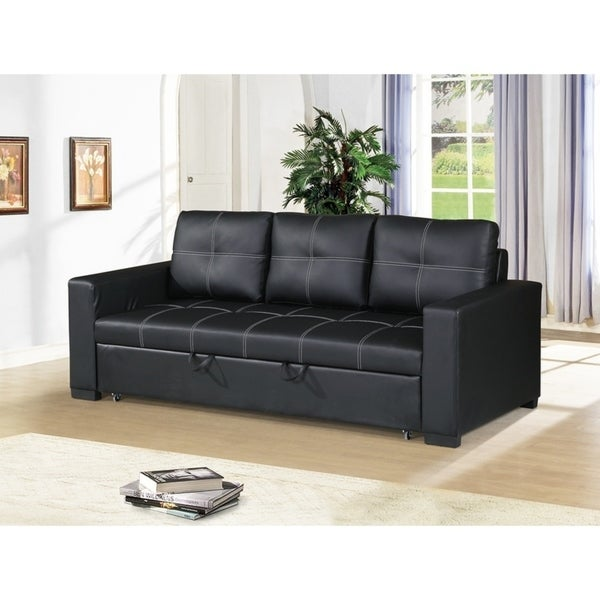 Superbe Faux Leather Convertible Sofa In Black
