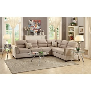 Modish Polyfiber 2 Pieces Sectional In Beige