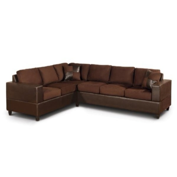 3 Piece Reversible Microfiber Fabric U0026amp; Faux Leather Sectional Sofa,  Chocolate Finish