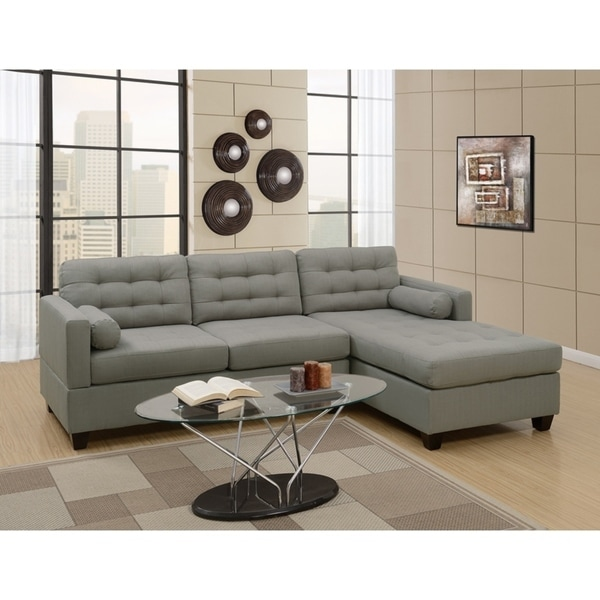 Polyfiber Linen Fabric Sectional Sofa In Gray
