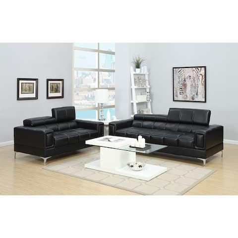 Bonded Leather 2 Piece Sofa Set With Foldable Headrests In Black