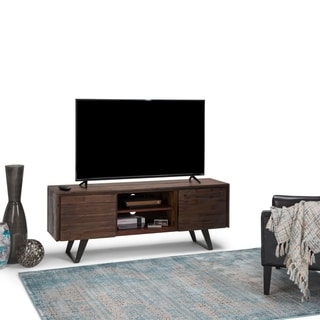 WYNDENHALL Mitchell Solid Acacia Wood 63in W Modern Industrial TV Media Stand in Distressed Charcoal Brown For TVs up to 70in