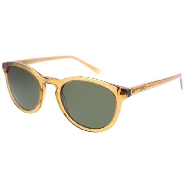 a7ee10c514 Banana Republic Round Johnny 2T3 QT Unisex Crystal Beige Frame Green Lens  Sunglasses