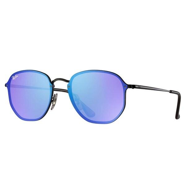 7063b809d1bd2 Shop Ray-Ban Blaze Hexagonal Sunglasses Black  Violet   Blue Mirror ...