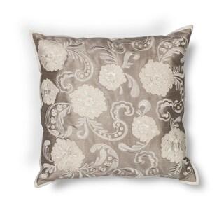 "Silver Floral 18"" x 18"" Pillow"