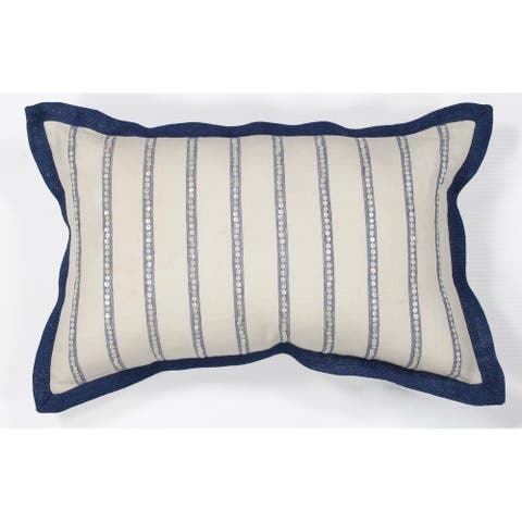 Porch & Den Brightwood Ivory/Blue Stripes 12-inch x 20-inch Throw Pillow