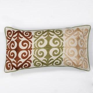 "Multicolor Damask 12"" x 20"" Pillow"