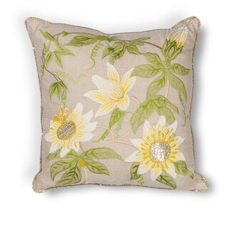 "Taupe Sunflowers 18"" x 18"" Pillow"