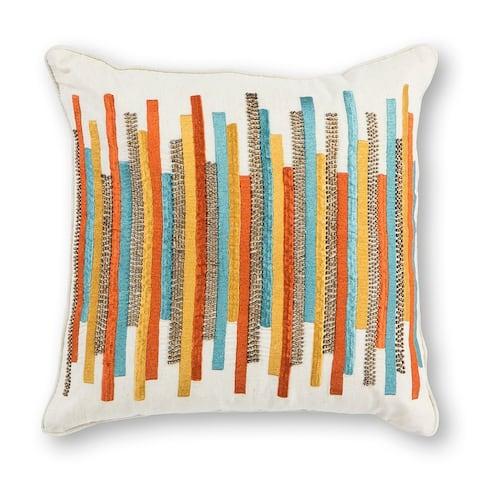 "Teal/Gold Stripes 18"" x 18"" Pillow"